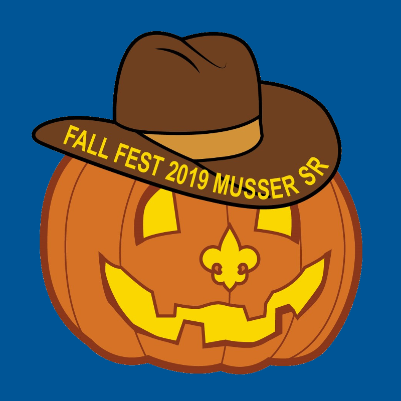 Jackolantern with a fleur-de-lis nose, and a cowboy hat with 'Fall Fest 2019 Musser SR' on the brim