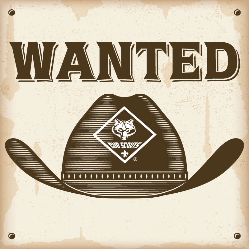 Old western poster with a cowboy hat with the cub scout logo on it and 'Wanted' above the hat