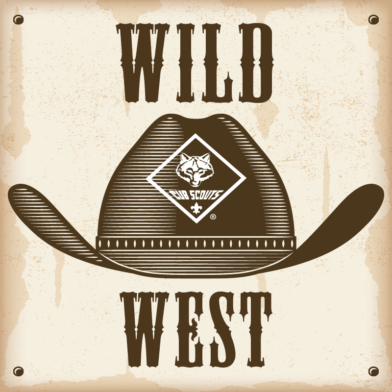 Old western poster with a cowboy hat with the cub scout logo on it and 'Wild West' above and below the hat