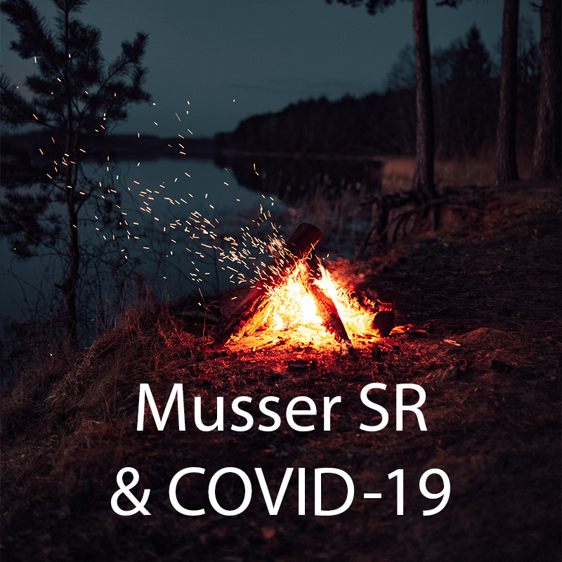 Campfire on a lake with 'Musser SR and COVID 19'