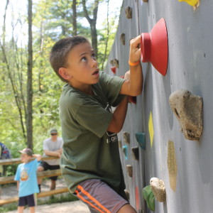 A boy climbing on a bouldering wall looking for the next rock to hold on to