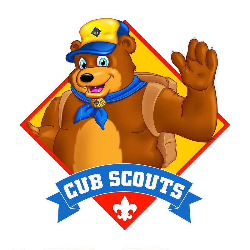 A cartoon bear in a cubscout hat and neckerchief waves high