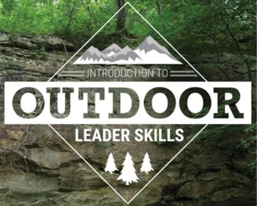 'Introduction to Outdoor Leadership Skills,' tree and mountain graphics over a picture of a natural rockface