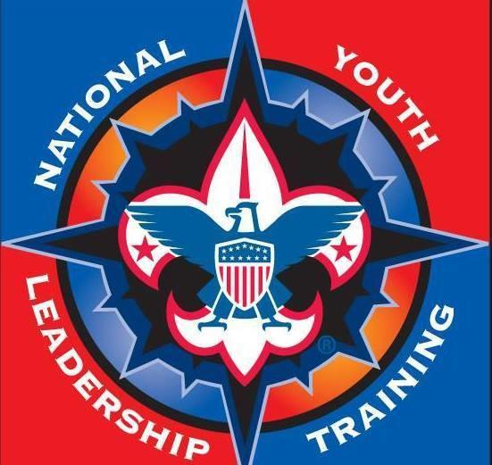 The scouting fleur-de-lis over a cross outlining 'National Youth Leadership Training'
